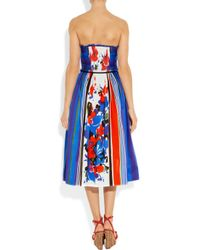 RED Valentino Multicolor Printed Cotton Strapless Dress