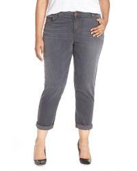 Eileen Fisher Gray Stretch Denim Boyfriend Jeans