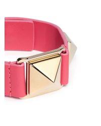 Valentino - Pink 'rockstud' Macro Leather Bracelet - Lyst