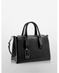 Calvin Klein | Black White Label Rowell Pebble Leather Studio Business Tote | Lyst