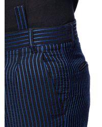 Haider Ackermann Blue Stripe Cotton Blend Cropped Pants for men