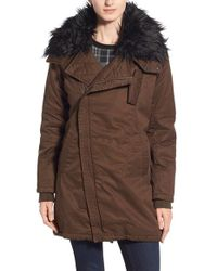 Steve Madden | Green Faux Fur Collar Cotton Twill Parka | Lyst