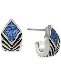 BCBGeneration - Metallic S Silver-tone Blue Crystal Huggie Earrings - Lyst