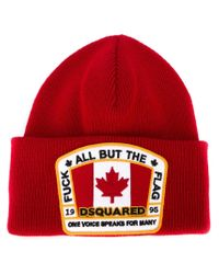 DSquared² | Red Logo Patch Beanie for Men | Lyst