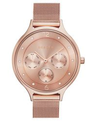 Skagen | Metallic 'anita' Crystal Index Chronograph Mesh Strap Watch | Lyst