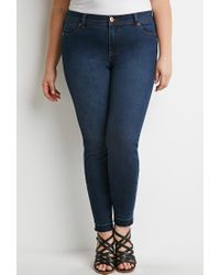 Forever 21 | Blue Plus Size Frayed Skinny Jeans | Lyst