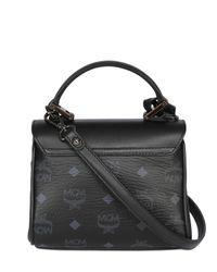 MCM Black Studded Faux Leather Shoulder Bag