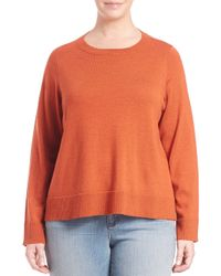 Eileen Fisher | Orange Bateau-neck Boxy Sweater | Lyst
