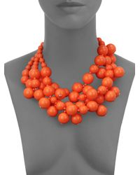 Kenneth Jay Lane - Pink Beaded Statement Necklace - Lyst