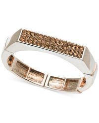 T Tahari | Metallic Rose Gold-tone Crystal Flat-top Stretch Bracelet | Lyst