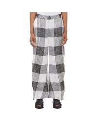 Acne Studios - Gray Women's Check Elfa Trousers - Lyst
