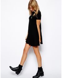 ASOS - Black Exclusive High Neck Swing Dress with Short Sleeves - Lyst