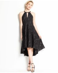 Ann Taylor | Black Floral Jacquard High Low Hem Halter Dress | Lyst
