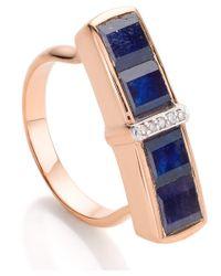 Monica Vinader Rose Gold Vermeil Blue Sapphire Diamond Baja Precious Ring
