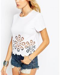 ASOS - White T-shirt With Floral Cutwork And Embroidered Hem - Lyst