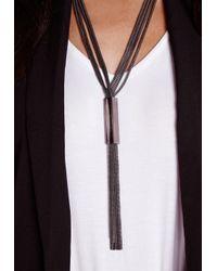 Missguided - Tassel Necklace Metal Trim Black - Lyst