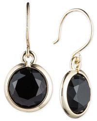 Anne Klein | Black Stone Drop Earrings | Lyst