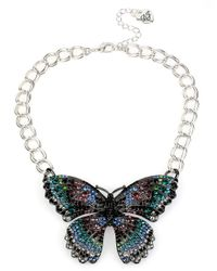 Betsey Johnson | Multicolor Butterfly Effect Pave Necklace | Lyst