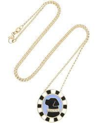 Holly Dyment - Metallic Labrador 18-Karat Gold, Enamel And Diamond Necklace - Lyst