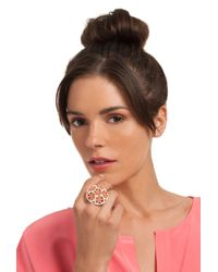 Trina Turk Pink Domed Flower Cocktail Ring