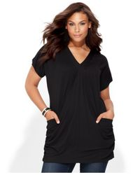 INC International Concepts | Black Plus Size Short-sleeve V-neck Tunic Top | Lyst