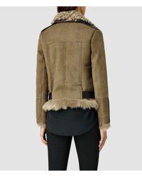 AllSaints - Brown Emerson Leather Biker Jacket - Lyst