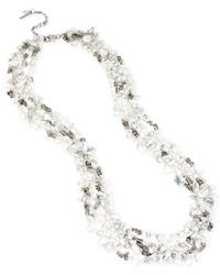 Kenneth Cole - Metallic Silver-tone Semiprecious Chip Bead Multi-row Long Necklace - Lyst