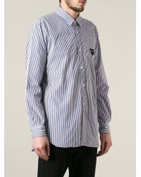 Play Comme des Garçons Blue Heart Logo Striped Shirt for men