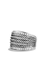 David Yurman | Metallic Wheaton Band Ring With Diamonds | Lyst