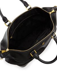 Tory Burch | Black Robinson Pebbled Small Double-zip Satchel | Lyst