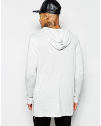 ASOS - Gray Longline Knitted Hoodie With Zips for Men - Lyst