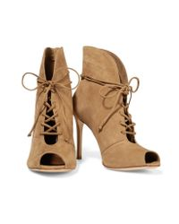 Schutz Natural Kafalin Lace-up Nubuck Ankle Boots
