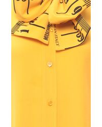 Moschino - Yellow Measuring Tape Blouse With Bow - Lyst