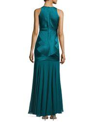 Halston - Blue Sleeveless V-neck Dropped Skirt Gown - Lyst