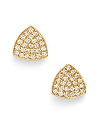 Bony Levy | Metallic 'aurora' Diamond Pave Triangle Stud Earrings | Lyst