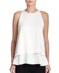 Theory | White Falice Silk Double-Tiered Top | Lyst