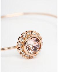 Ted Baker Pink Crystal Double Daisy Ultra Fine Cuff Bracelet
