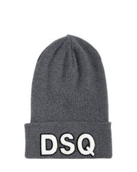 DSquared² - Gray Logo Patch Wool Beanie Hat for Men - Lyst
