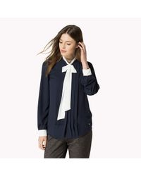 Tommy Hilfiger | Blue Crepe Bow Blouse | Lyst