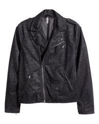 H&M - Gray Biker Jacket for Men - Lyst
