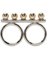 Caterina Zangrando - Metallic Silver Brass Studded Athena Two_finger Ring - Lyst