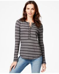 Lucky Brand Black Striped Geometric-print Thermal Top