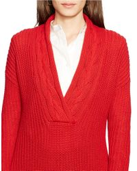Lauren by Ralph Lauren - Red Ribbed Cotton Sweater - Lyst