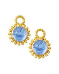 Elizabeth Locke | Blue Cerulean 19K Yellow-Gold Earrings | Lyst