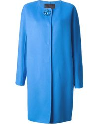 Ermanno Scervino | Blue Embellished Button Fastening Coat | Lyst