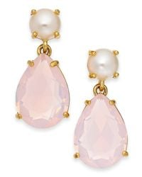 kate spade new york | Gold-Tone Faux Pearl And Pink Teardrop Stone Earrings | Lyst