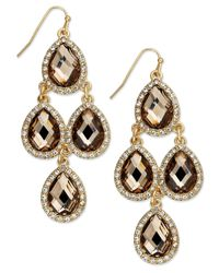 INC International Concepts | Metallic Gold-tone Bronze-tone Stone And Crystal Pave Chandelier Earrings | Lyst