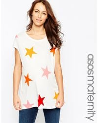 ASOS - White T-shirt In Slouchy Rib With Star Print - Lyst