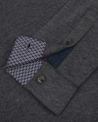 Ted Baker - Gray Long Sleeved Polo Shirt for Men - Lyst