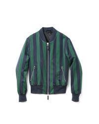 AMI Blue Striped Zip Jacket for men